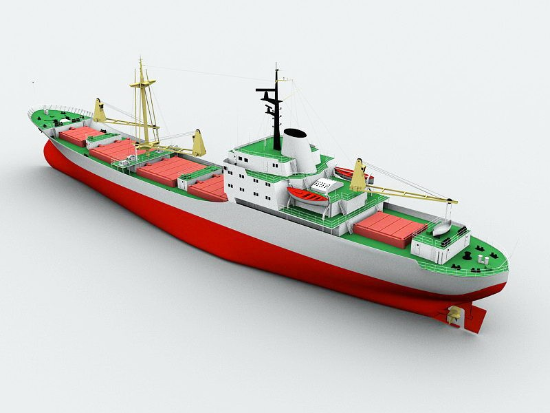 Small Cargo Ship 3d rendering