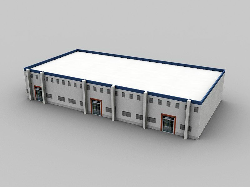 Small Factory Building 3d rendering