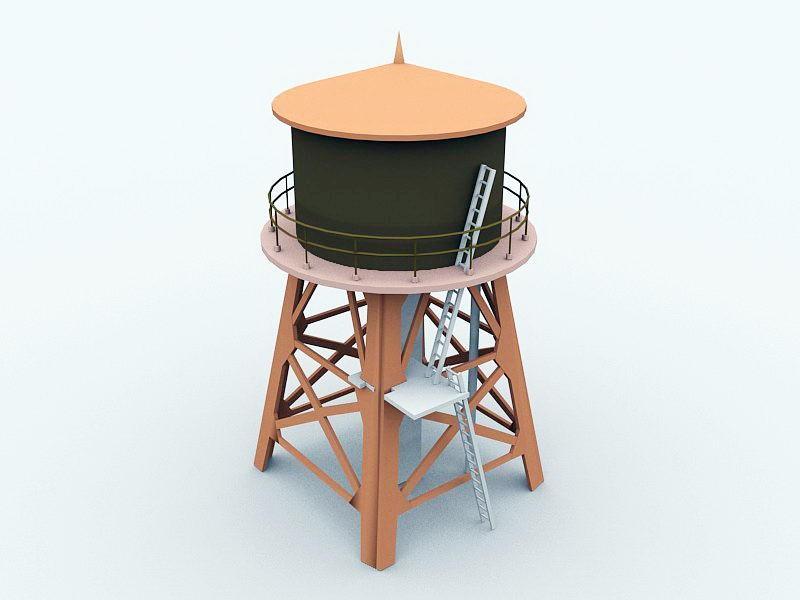 Old Water Tower 3d rendering