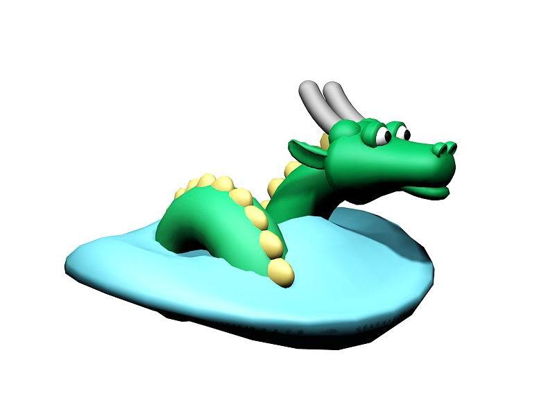 Water Dragon Cartoon 3d rendering