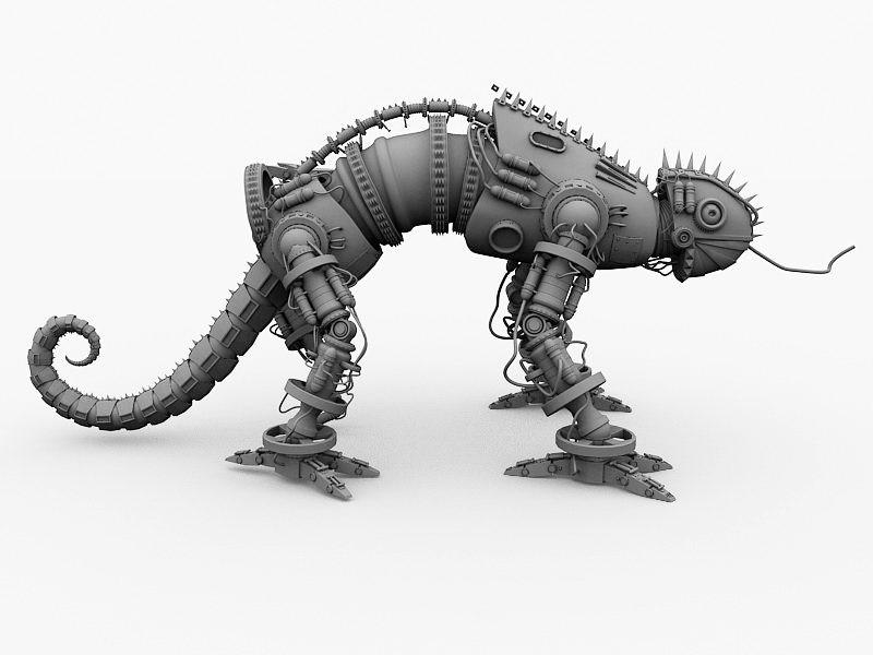 Mechanical Lizard 3d rendering