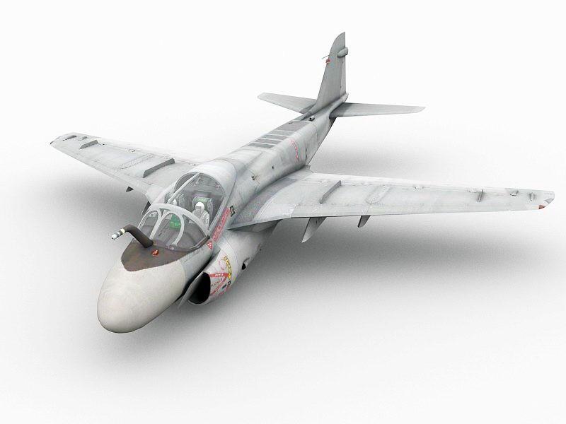 A-6 Intruder Attack Aircraft 3d rendering