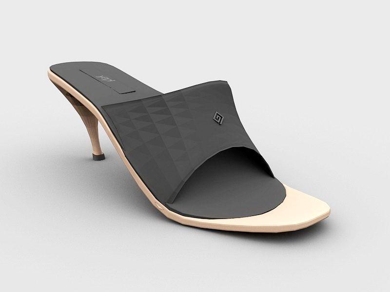 Slide Sandals with Heels 3d rendering