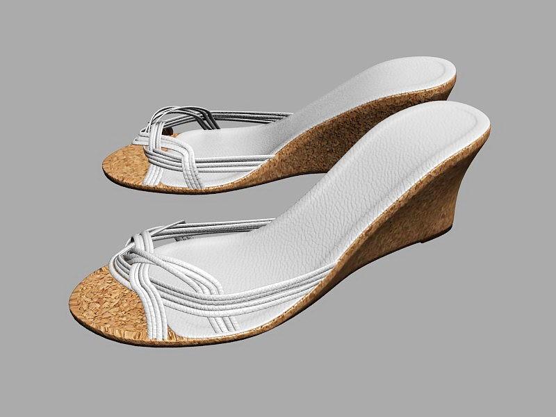 White Wedge Slide Sandals 3d rendering
