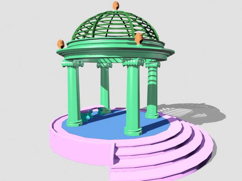 Round Garden Gazebo 3d rendering