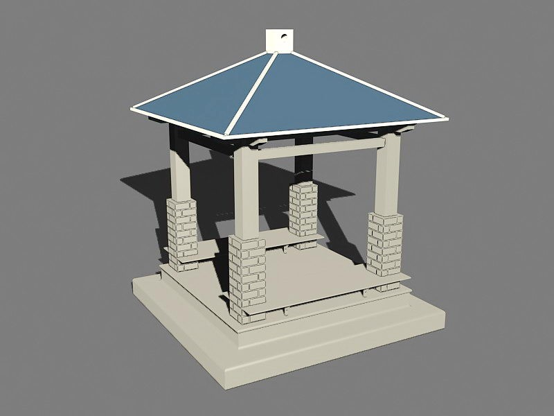 Square Gazebo 3d rendering