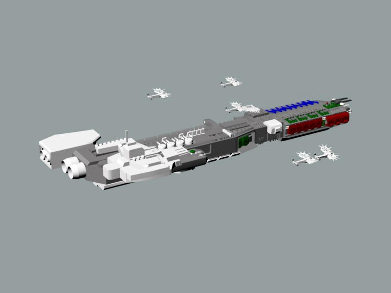 Sci-Fi Space Carrier 3d rendering