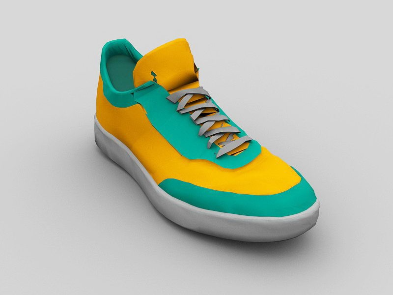 Green and Yellow Running Shoes 3d rendering