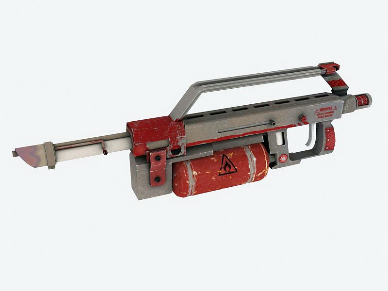 Flamethrower Gun 3d rendering