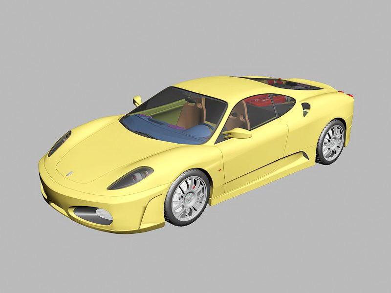 Ferrari F430 Yellow 3d rendering