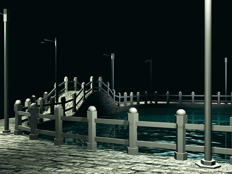 The Small Bridge And Flowing Water 3d rendering