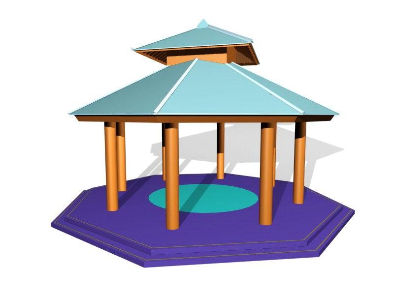 Outdoor Garden Gazebo 3d rendering