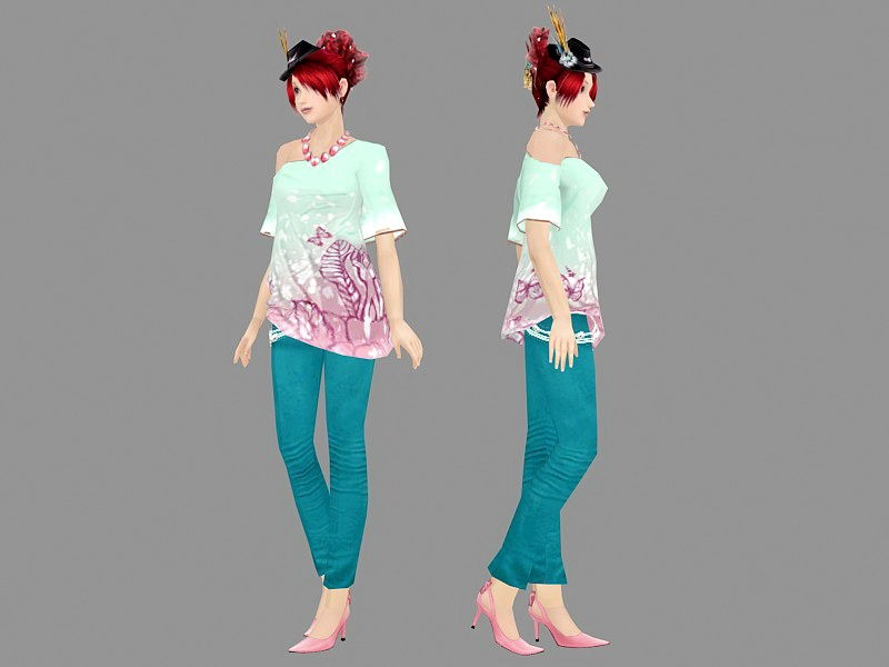 Stylish Girl Character 3d rendering