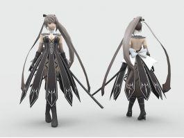 Anime Sword Fighter Girl 3d preview