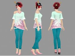 Stylish Girl Character 3d preview