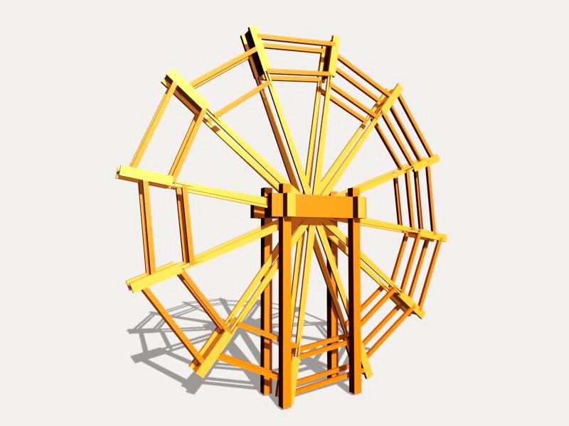 Water Wheel 3d rendering