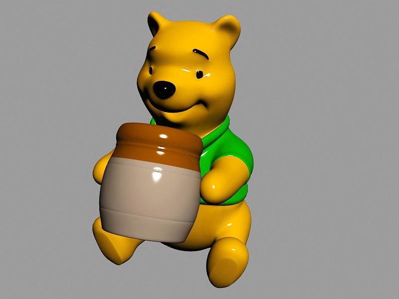 Winnie the Pooh Statue 3d rendering