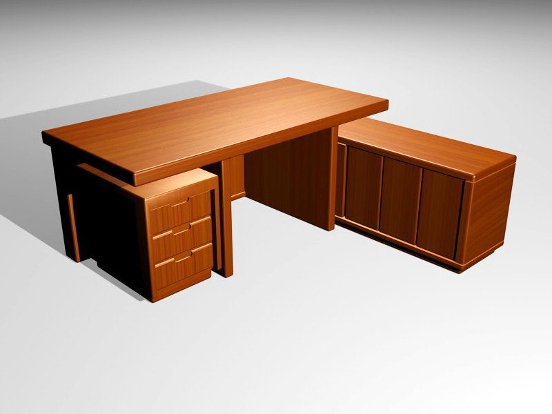 L Shaped Executive Office Desk 3d rendering