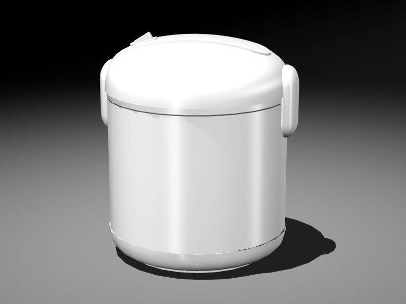 White Rice Cooker 3d rendering
