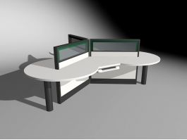 3 Person Workstation Office Furniture 3d preview