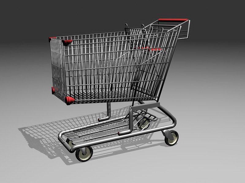 Metal Shopping Cart 3d rendering