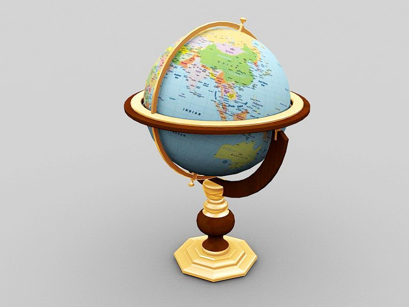 Vintage World Globe 3d rendering