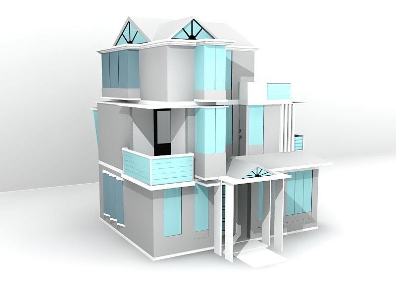 Three Floor House Design 3d rendering