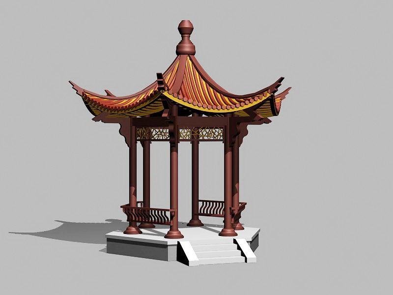 Chinese Garden Pavilion Building 3d rendering