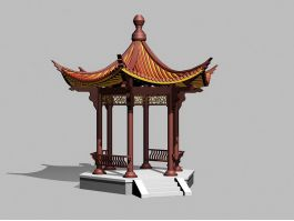 Chinese Garden Pavilion Building 3d preview