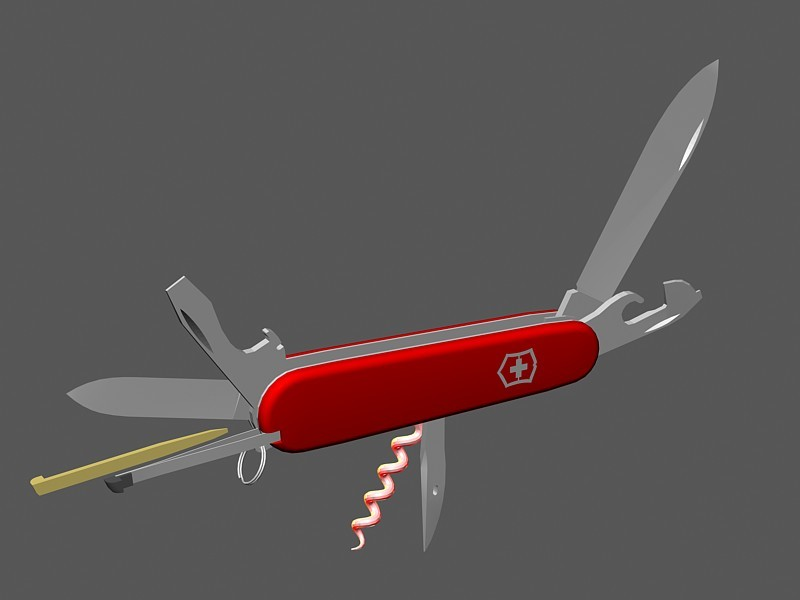 Animated Swiss Army Knife 3d rendering