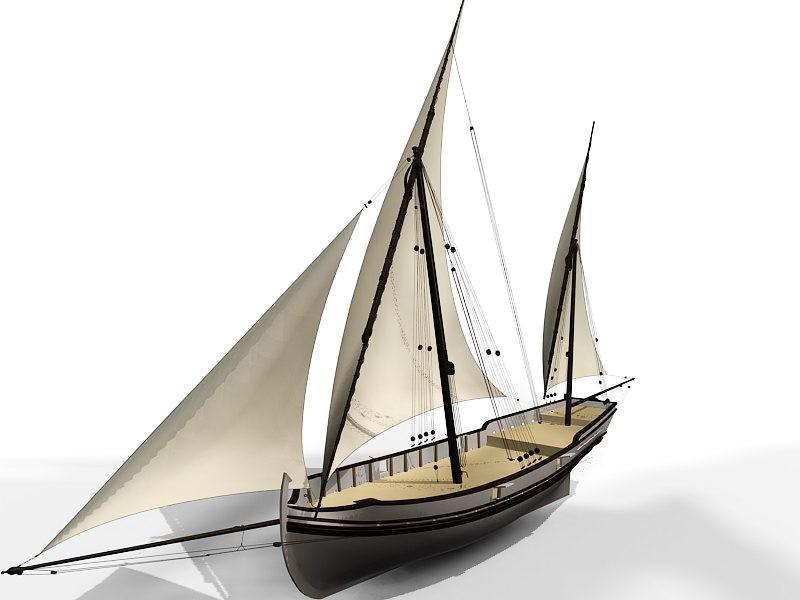 Old Sailing Ship 3d rendering