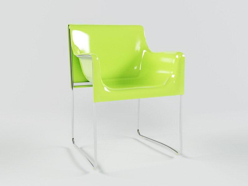 Green Plastic Chair 3d rendering