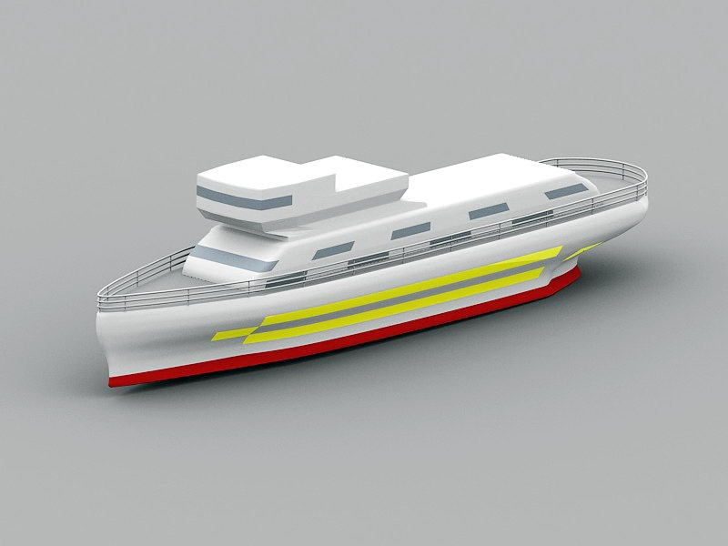Yacht Ship 3d rendering