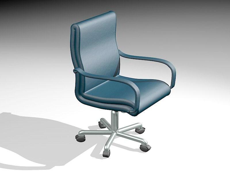 Blue Desk Chair 3d rendering