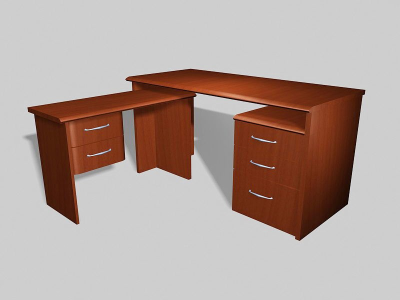 L-shaped Office Desk with Storage 3d rendering