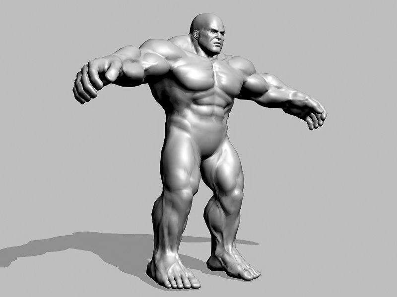 Full Body Muscle Man 3d rendering