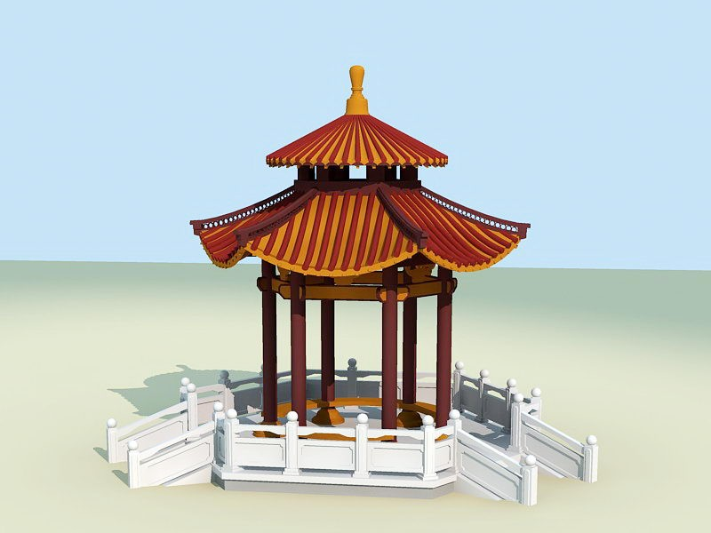 Ancient Chinese Pavilion 3d rendering