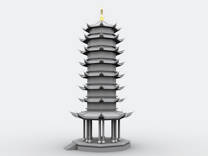 Old Chinese Pagoda 3d rendering