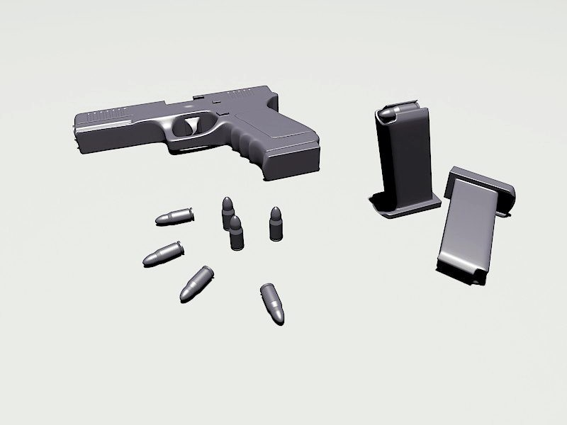 Glock 19 with Cartridges 3d rendering