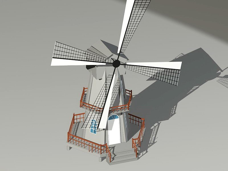 Historic Windmill 3d rendering