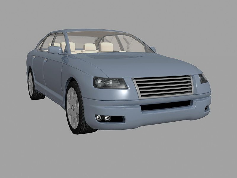 Blue Classic Car 3d rendering