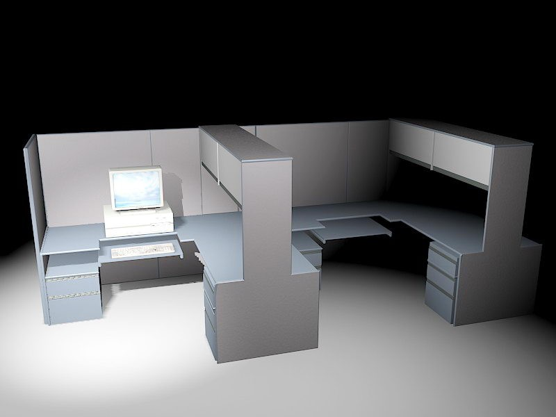 Office Workspace Cubicles 3d rendering