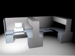 Office Workspace Cubicles 3d model preview