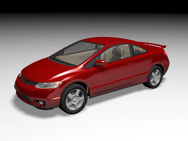 Honda Civic Sport Red 3d rendering