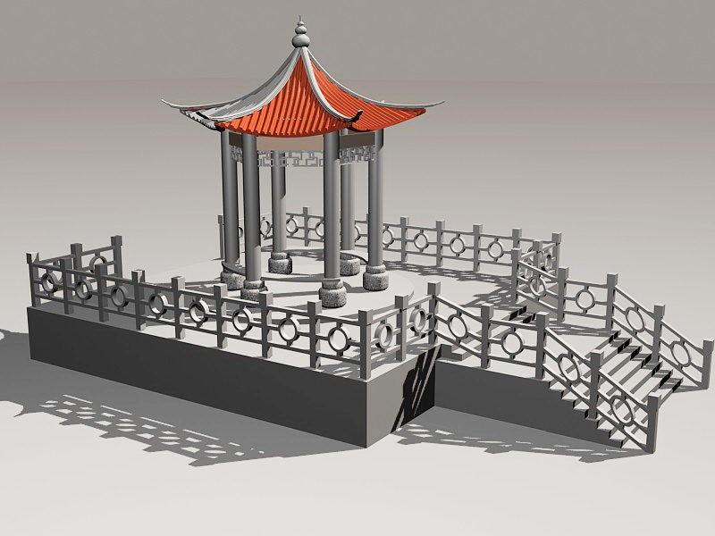 Chinese Garden Pavilion 3d rendering