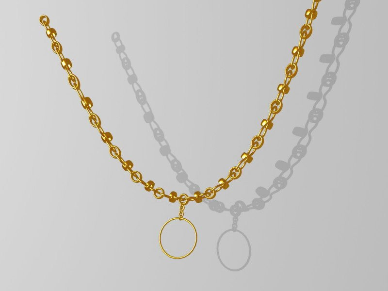 Yellow Gold Necklace 3d rendering