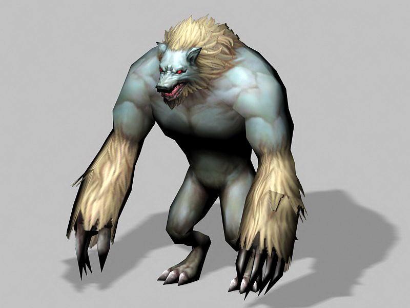 Blue Anime Werewolf 3d rendering