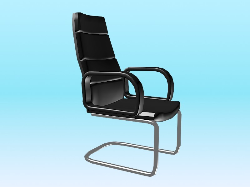 Black Leather Cantilever Chair 3d rendering