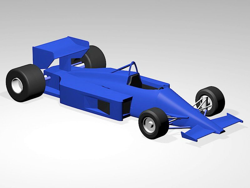 F1 Racing Car In Blue 3d rendering