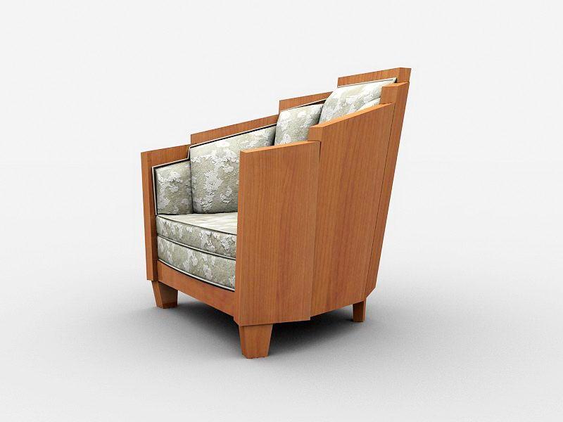 Vintage Upholstered Armchair 3d rendering